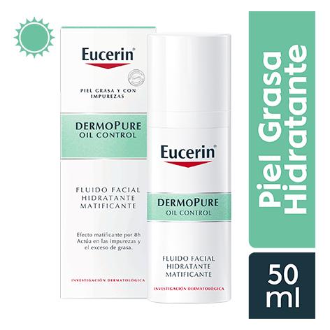 EUCERIN DERMOPURE FLUIDO FACIAL MATIFICANTE 50 ML - Vider Salud Dermatológica